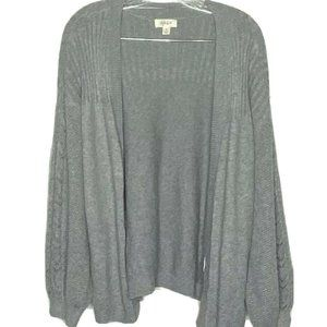 Style & Co M Gray Open Front Ribbed Cardigan